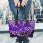 Purple Silver Fern Small Leather Tote Bag K7 - 1st New Zealand