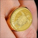 New Zealand Turtle Coin Ring Gold K4 - 1st New Zealand