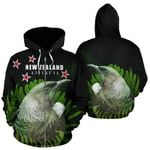 Tui Bird with Silver Fern New Zealand Zip Hoodie K4 - 1st New Zealand