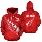 Rugby Haka Fern Hoodie Red - KEIKO K4 - 1st New Zealand