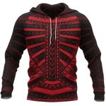 Polynesian Tattoo All Over Hoodie Red K4 - 1st New Zealand