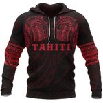 Tahiti Polynesian Tattoo All Over Hoodie Red K4 - 1st New Zealand