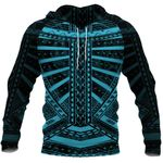 Polynesian Tattoo All Over Hoodie Blue K4 - 1st New Zealand