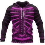 Polynesian Tattoo All Over Hoodie Pink K4 - 1st New Zealand