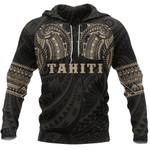 Tahiti Polynesian Tattoo All Over Hoodie Gold K4 - 1st New Zealand