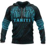 Tahiti Polynesian Tattoo All Over Hoodie Blue K4 - 1st New Zealand