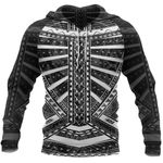 Polynesian Tattoo All Over Hoodie White K4 - 1st New Zealand