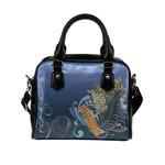 Silver Fern With Flowers New Zealand Shoulder Handbag K75 - 1st New Zealand