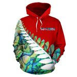 Paua Shell Silver Fern Hoodie Red K4 - 1st New Zealand