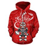 Rugby Kia Kaha Be Strong Zip Up Hoodie Red K4 - 1st New Zealand