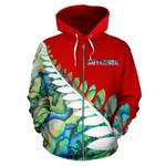Paua Shell Silver Fern Zip Up Hoodie Red K4 - 1st New Zealand