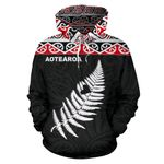 New Zealand Maori Hoodie, Aotearoa Silver Fern Pullover Hoodie K7 - 1st New Zealand