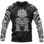 Tiki Maori Tattoo All Over Hoodie White K4 - 1st New Zealand