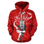 Rugby Kia Kaha Be Strong Zip Up Hoodie - Red Version 2 K4 - 1st New Zealand