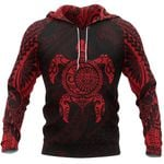 Turtle Maori Tattoo All Over Hoodie Red K4 - 1st New Zealand