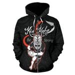 Rugby Kia Kaha Be Strong Zip Up Hoodie - Black Version 2 K4 - 1st New Zealand