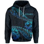 Aotearoa Zip-Up Hoodie Blue Maori Manaia with Silver Fern TH5