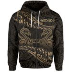 Aotearoa Zip-Up Hoodie Gold Maori Manaia with Silver Fern TH5