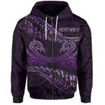 Aotearoa Zip-Up Hoodie Purple Maori Manaia with Silver Fern TH5