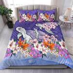 Sea Turtle Polynesian Bedding Set Tropical Floral K4