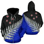New Zealand Maori Silver Fern Zip Up Hoodie K4 - 1st New Zealand