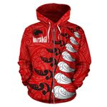 New Zealand Waitangi Day Hoodie, Maori Silver Fern Zip Up Hoodie, Red Style K4 - 1st New Zealand