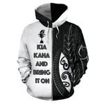 New Zealand Rugby Hoodie, Kia Kaha And Bring It On Zip Up Hoodie K4 - 1st New Zealand