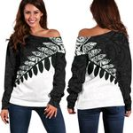 New Zealand Silver Fern Off Shoulder Sweater Black White K4 - 1st New Zealand