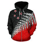 New Zealand Silver Fern Zip Up Hoodie Black Red K4 - 1st New Zealand