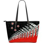 New Zealand Silver Fern Large Leather Tote Bag Red K4 - 1st New Zealand