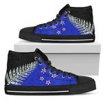 Silver Fern Flag High Top Shoes Blue K4 - 1st New Zealand
