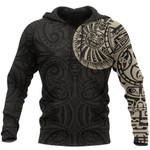 New Zealand Maori Hoodie, Maori Warrior Tattoo Pullover Hoodie - Tan A75 - 1st New Zealand