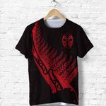 Tiki Silver Fern Tattoo T Shirt - Red K8