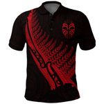 Tiki Silver Fern Tattoo Polo Shirt - Red K8