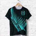 Tiki Silver Fern Tattoo T Shirt - Turquoise K8