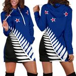 Silver Fern Flag New Zealand Hoodie Dress K5 - 1st New Zealand