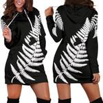Silver Fern With Heart New Zealand Hoodie Dress K5 - 1st New Zealand