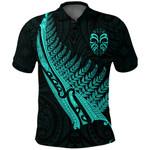 Tiki Silver Fern Tattoo Polo Shirt - Turquoise K8