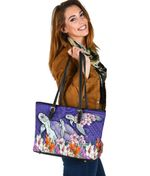 Sea Turtle Polynesian Small Leather Tote Tropical Floral K4
