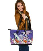 Sea Turtle Polynesian Large Leather Tote Tropical Floral K4