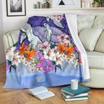 Sea Turtle Polynesian Premium Blanket Tropical Floral K4