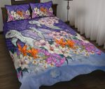Sea Turtle Polynesian Quilt Bed Set Tropical Floral K4