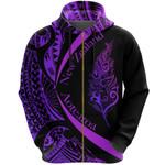 Light Silver Fern Maori Zip Hoodie Circle Style, Purple J95