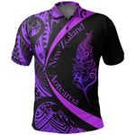 Light Silver Fern Maori Polo Shirt Circle Style, Purple J95