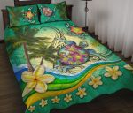 Turtle Polynesian Quilt Bed Set, Tribal Honu with Plumeria Colorful K4