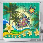 Turtle Polynesian Shower Curtain, Tribal Honu with Plumeria Colorful K4