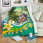 Turtle Polynesian Premium Blanket, Tribal Honu with Plumeria Colorful K4