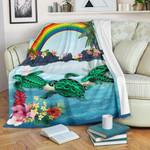 Polynesian Premium Blanket Green Sea Turtle Rainbow K8
