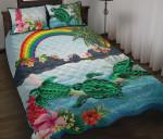 Polynesian Quilt Bed Set Green Sea Turtle Rainbow K8