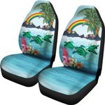 Polynesian Car Seat Covers Green Sea Turtle Rainbow K8